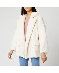 Free People Solid Kate Faux Fur Coat - Natural