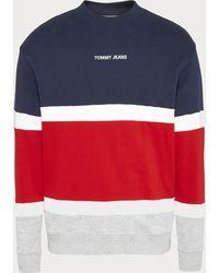 Tommy Hilfiger Retro Colorblock High Crewneck Sweatshirt - Blue