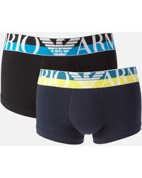 Emporio Armani Megalogo Trunk Boxer Shorts - Blue