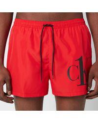 Calvin Klein Ck Logo Drawstring Swim Shorts - Red