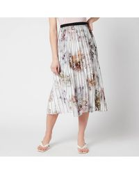 Ted Baker Flavvia Vanilla Printed Pleated Skirt - White