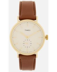 Timex Fairfield Sub-second Leather Strap Watch - Multicolour