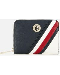 Tommy Hilfiger Th Core Compact Zip Around Wallet Portefeuille Omphalodes Bleu Nouveau