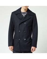 Armor Lux Caban Wool Coat - Blue
