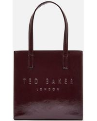 Ted Baker Alicon Crinkle Patent Embossed Small Icon Tote Bag - Red
