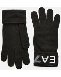 EA7 Logo Embroidered Gloves - Black