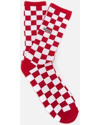 Vans Checkerboard Crew Socks - Red