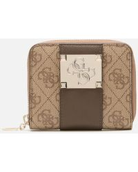 Guess Logo City Small Zip Around Purse - Brown