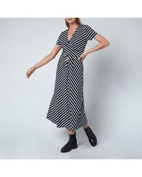 Tommy Hilfiger Viscose Midi Wrap Dress - Blue