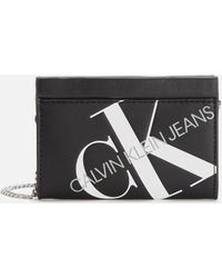 Calvin Klein Logo Chain Cardcase Cross Body Bag - Black