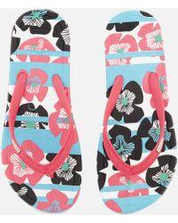 HUNTER - Original Floral Stripe Printed Flip Flops - Lyst