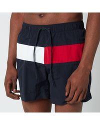 Tommy Hilfiger Big Flag Medium Length Drawstring Swimshorts - Blue