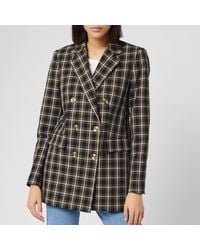 MICHAEL Michael Kors Double-breasted Checked Cotton-blend Blazer - Green