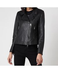 BOSS by Hugo Boss Boss Sajuana1 Leather Jacket - Black