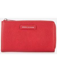 Armani Exchange Emma Round Zip Wallet - Red