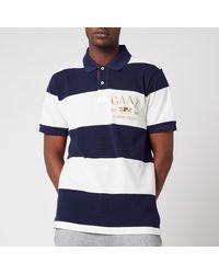 GANT Flag Crest Barstripe Pique Polo Shirt - Blue