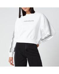 Calvin Klein Stripe Tape Cropped Cn Sweatshirt - White