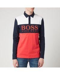 BOSS by Hugo Boss Red Colorblock Plisy1 Long Sleeve Polo