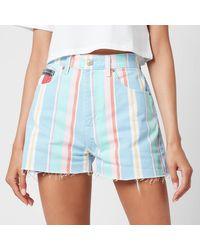 Tommy Hilfiger Stripe Denim Shorts - Blue