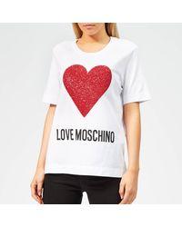 Love Moschino Heart Logo T-shirt - White