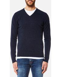 Hackett Lambswool V Neck Sweater - Blue