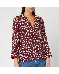 Whistles Illustrated Flower Pyjama Shirt - Red