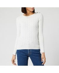 Superdry Croyde Cable Knitted Sweater - White