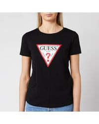 Guess Basic Triange Short Sleeve T-shirt - Black