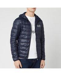 EA7 Down Hooded Jacket - Blue