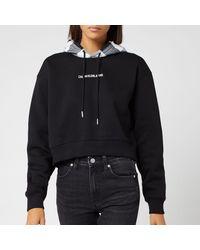 Calvin Klein Buffalo Check Crop Hoodie - Black