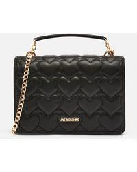 Love Moschino Heart Quilt Shoulder Bag - Black