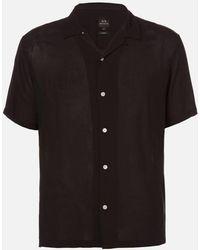 Armani Exchange Pyjama Collar Short Sleeve Shirt - Black