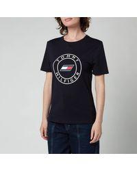 Tommy Sport Slim Round Graphic Crew Neck T-shirt - Blue