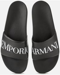 Emporio Armani Slide Sandals - Black