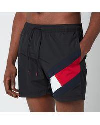 Tommy Hilfiger Signature Flag Medium Length Drawstring Swimshorts - Black