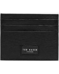 Ted Baker Despot Woodgrain Leather Cardholder - Black