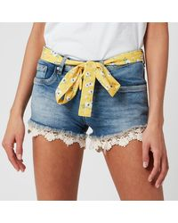 Superdry Lace Hot Short - Blue
