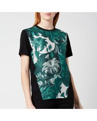 Ted Baker Norlet Rococo Printed Woven Front T-shirt - Blue