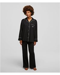 Karl Lagerfeld Long Sleeve Pyjama Shirts - Black