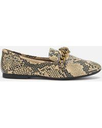 Kurt Geiger Snakeskin Print Loafers. Chelsea Loafer Model. - Gray