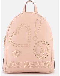 Love Moschino - Studded Logo Backpack - Lyst