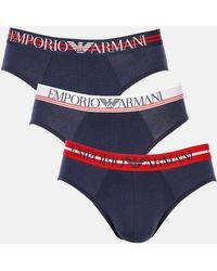 Emporio Armani Mixed Waistband 3-pack Briefs - Blue