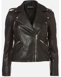 Superdry Leather Essentials Biker Jaket - Black