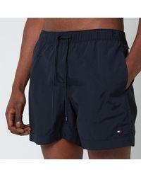 Tommy Hilfiger Small Flag Medium Length Drawstring Swimshorts - Blue