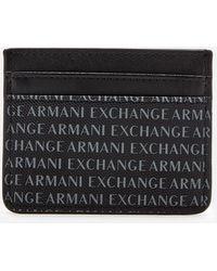 Armani Exchange - Leather Card Holder Black - Lyst