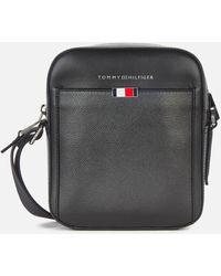 Tommy Hilfiger Business Leather Mini Reporter Bag - Black