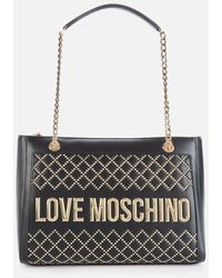 Love Moschino Quilt Stud Tote Bag - Blue