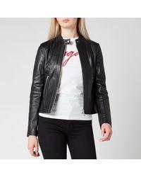HUGO Lonia Leather Jacket - Black