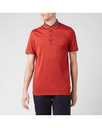 Ted Baker Teacups Striped Collar Polo Shirt - Orange