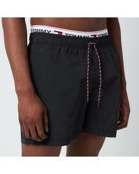 Tommy Hilfiger Signature Rib Drawstring Swimshorts - Black